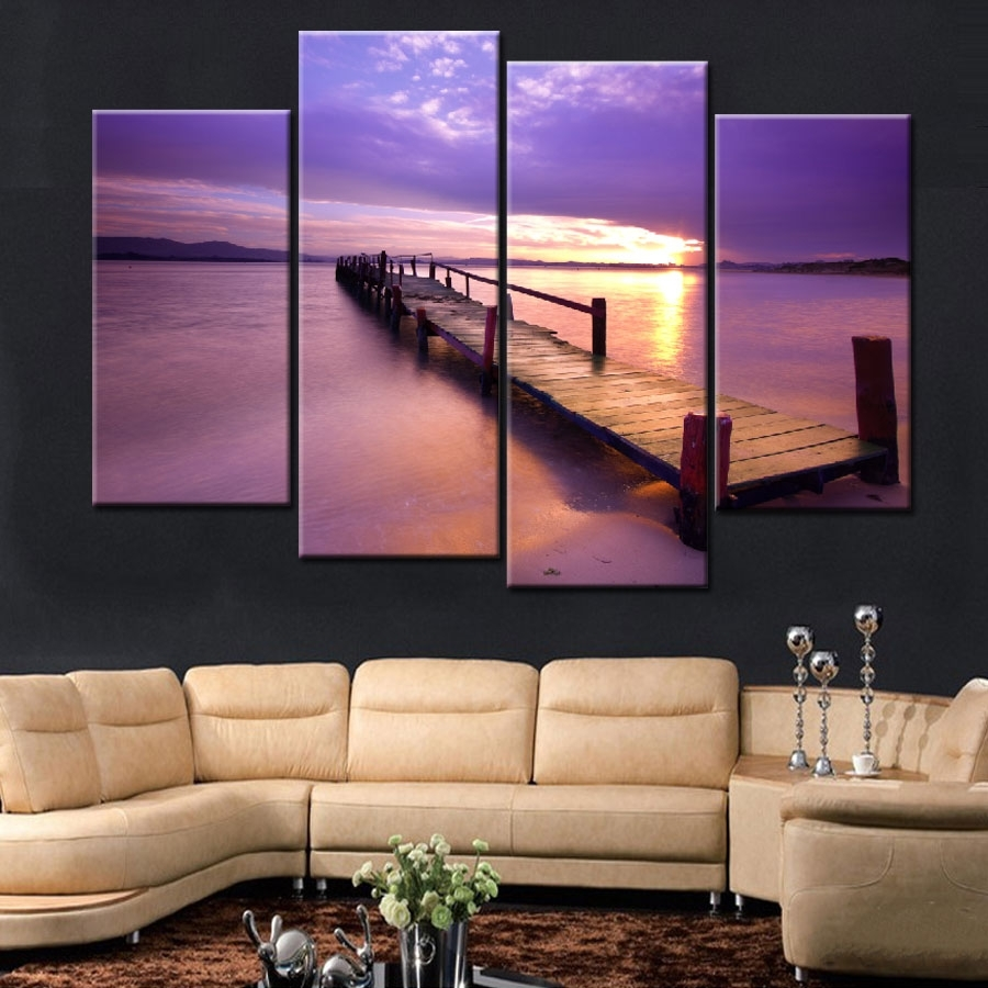 4 Pieces Popular Warm Purple Modern Wall Painting Beach Sunset Sea Inside Best And Newest Popular Wall Art (Gallery 8 of 20)
