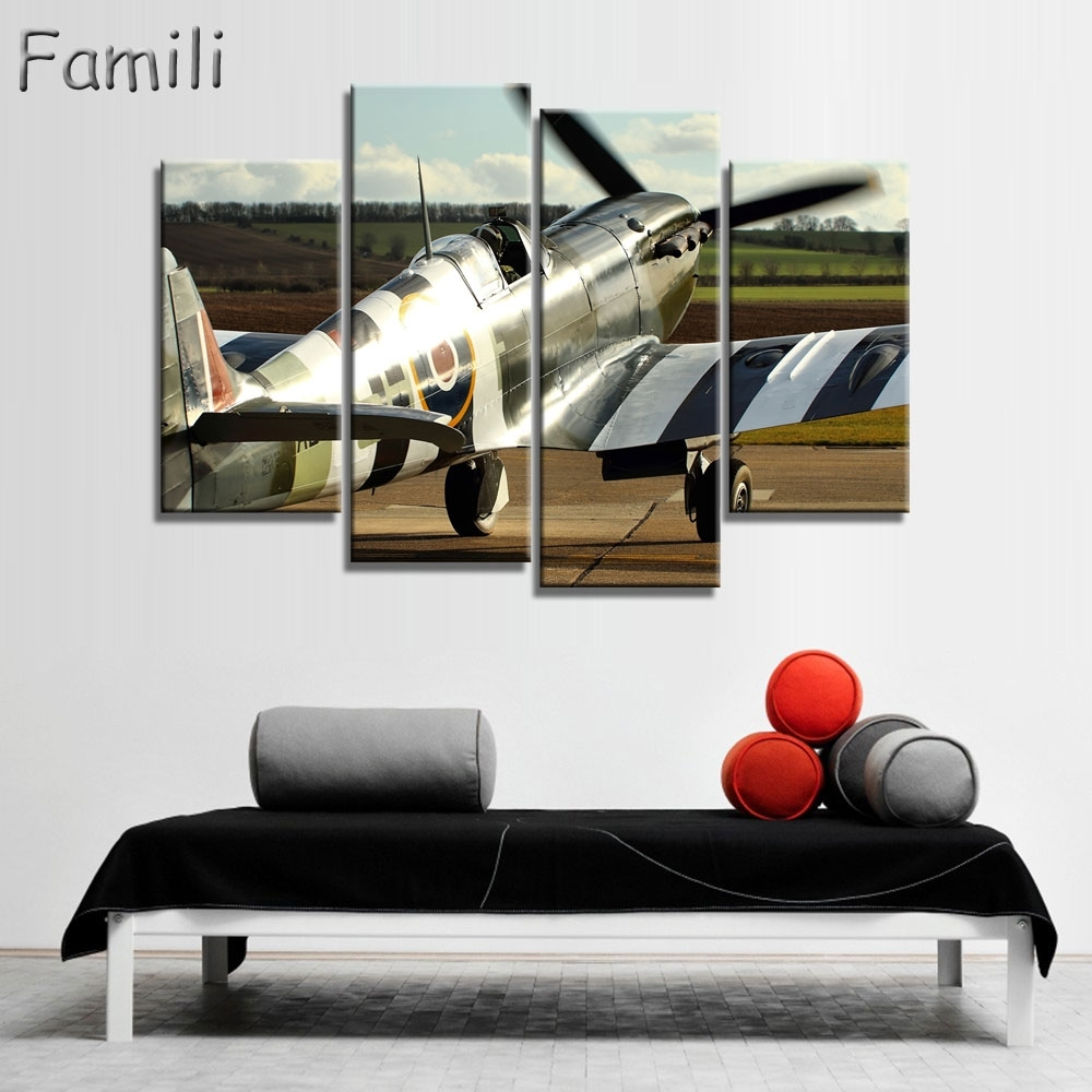 4 Pieces Poster Airport Fighter Painting Canvas Wall Art Picture Inside 2017 Aviation Wall Art (View 4 of 20)