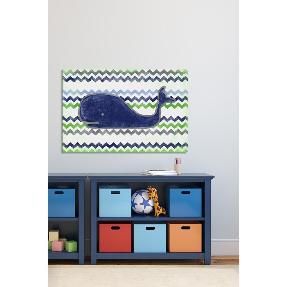 "40 In. H X 60 In. W ""navy Whale""reesa Qualia Printed Canvas Wall Regarding Most Current Whale Canvas Wall Art (Gallery 9 of 20)"