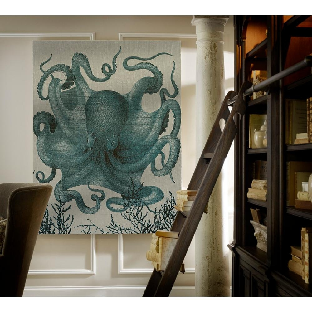40 In. X 29 In. Octopus Iii Blue Small Splash Works Printed In Recent Octopus Wall Art (Gallery 12 of 20)