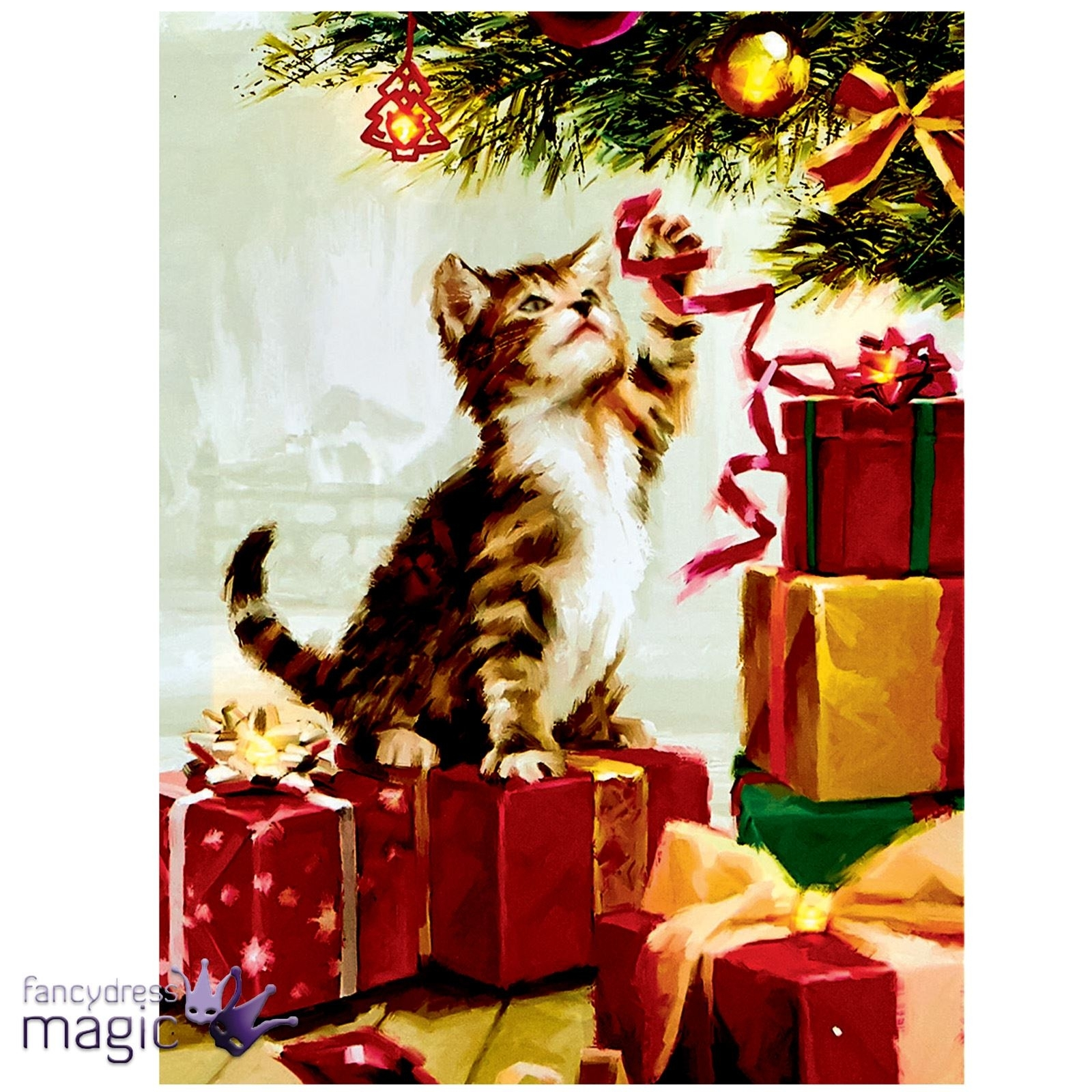 40 X 30Cm Christmas Animal Scene Led Canvas Battery Operated Cat Dog Throughout Most Recently Released Cat Canvas Wall Art (View 3 of 20)