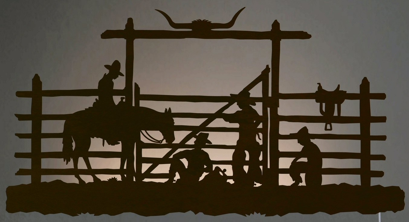 "42"" Cowboys In The Corral Led Back Lit Lighted Metal Wall Art – Wall Within Newest Lighted Wall Art (Gallery 15 of 20)"