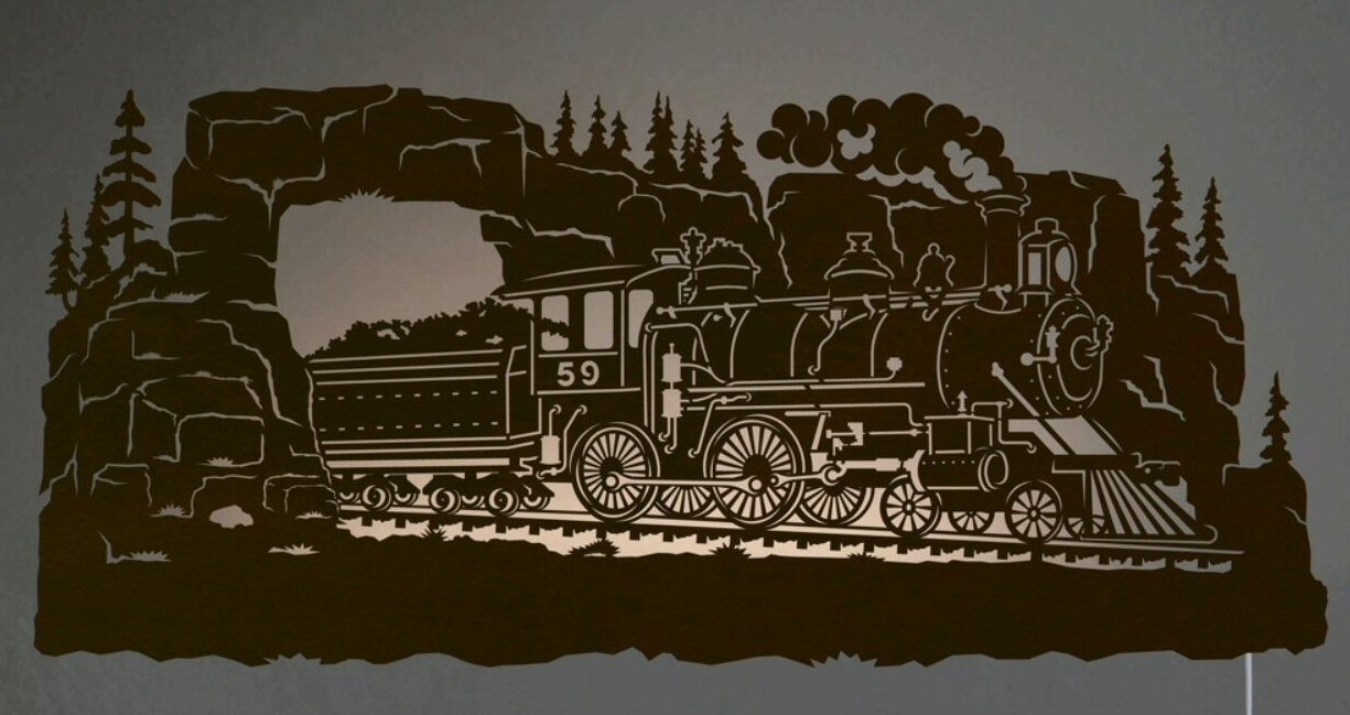 "42"" Steam Locomotive Train Scenic Led Back Lit Lighted Metal Wall Within Current Lighted Wall Art (View 3 of 20)"