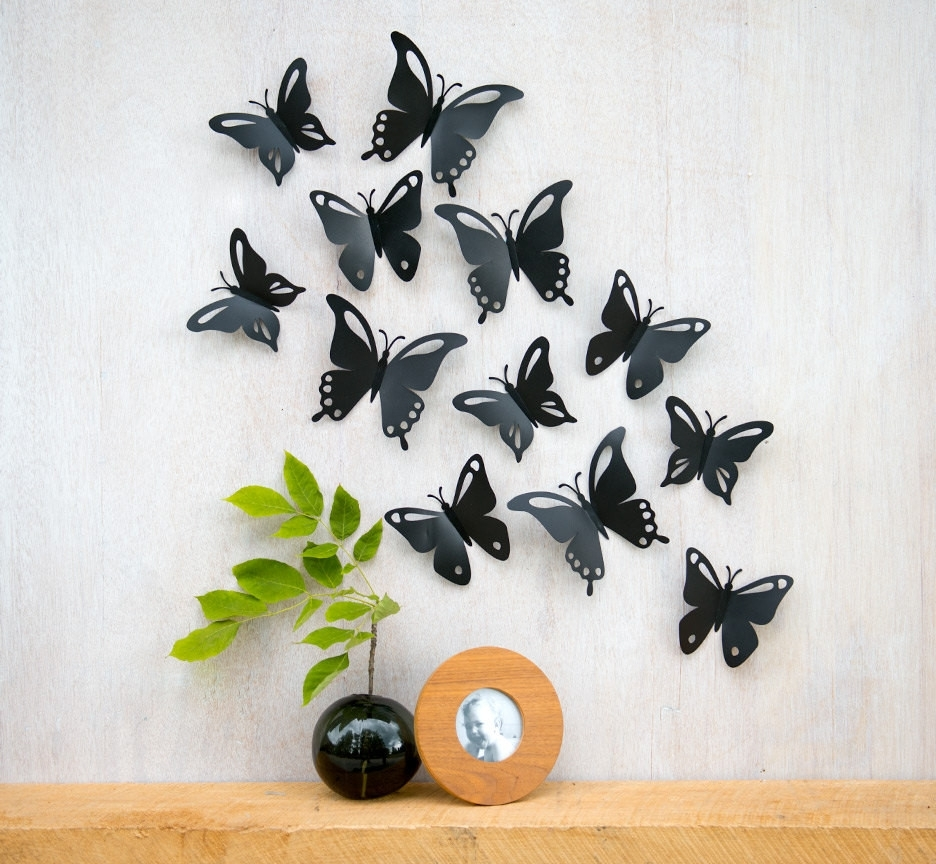 45 Awesome Black Butterfly Wall Decor | Wall Decor Inspiration With Regard To Most Up To Date Butterfly Wall Art (Gallery 14 of 15)