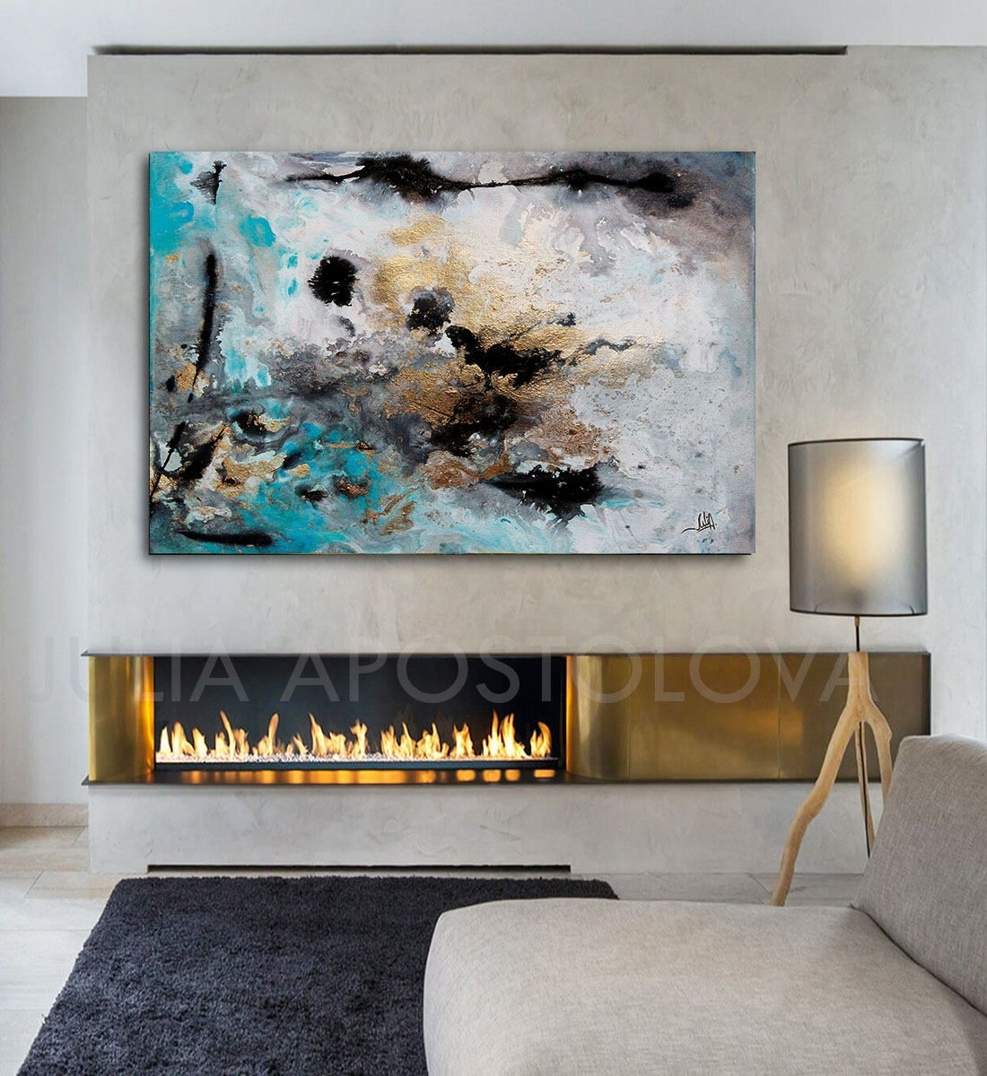 48inch, Turquoise Gold Black, Abstract Print, Large Wall Art Regarding Most Recently Released Extra Large Wall Art (View 2 of 20)