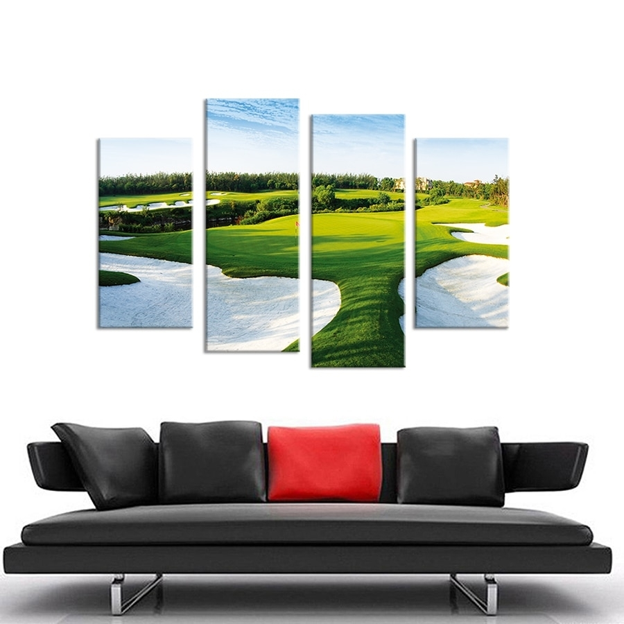 4Pcs A Beautiful Golf Course Wall Painting Print On Canvas For Home Regarding Current Golf Canvas Wall Art (Gallery 1 of 20)