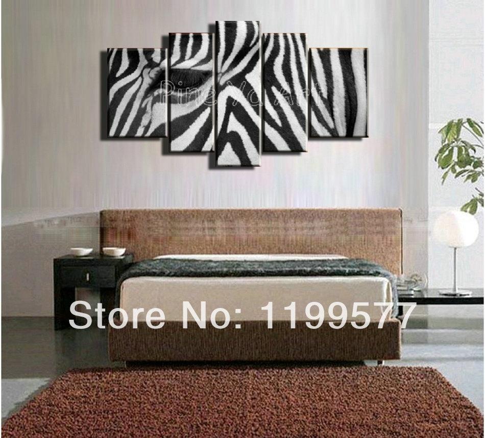 5 Muti Piece Modern Abstract Wall Art Handmade Black White Zebra With Regard To Most Current Zebra Canvas Wall Art (View 3 of 20)