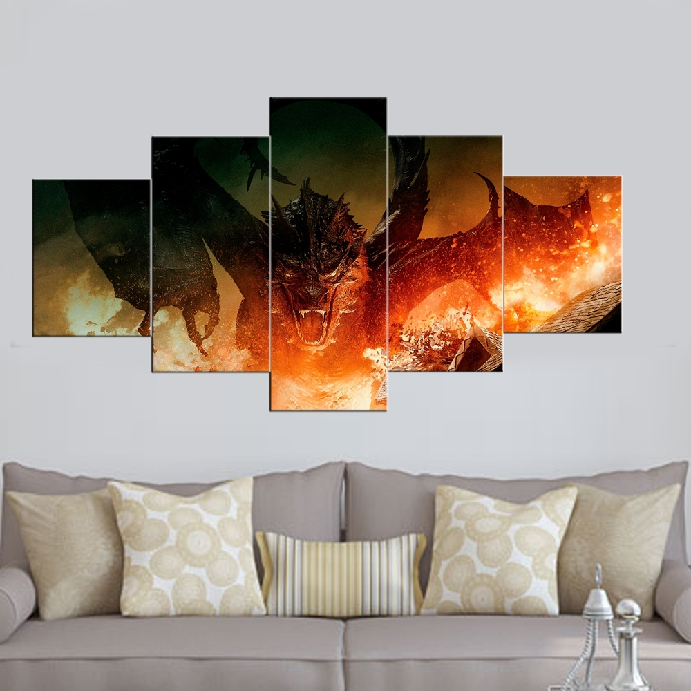 5 Panel Canvas Painting The Hobbit Movie Painting Prints Posters In Newest Wall Art Panels (View 3 of 20)