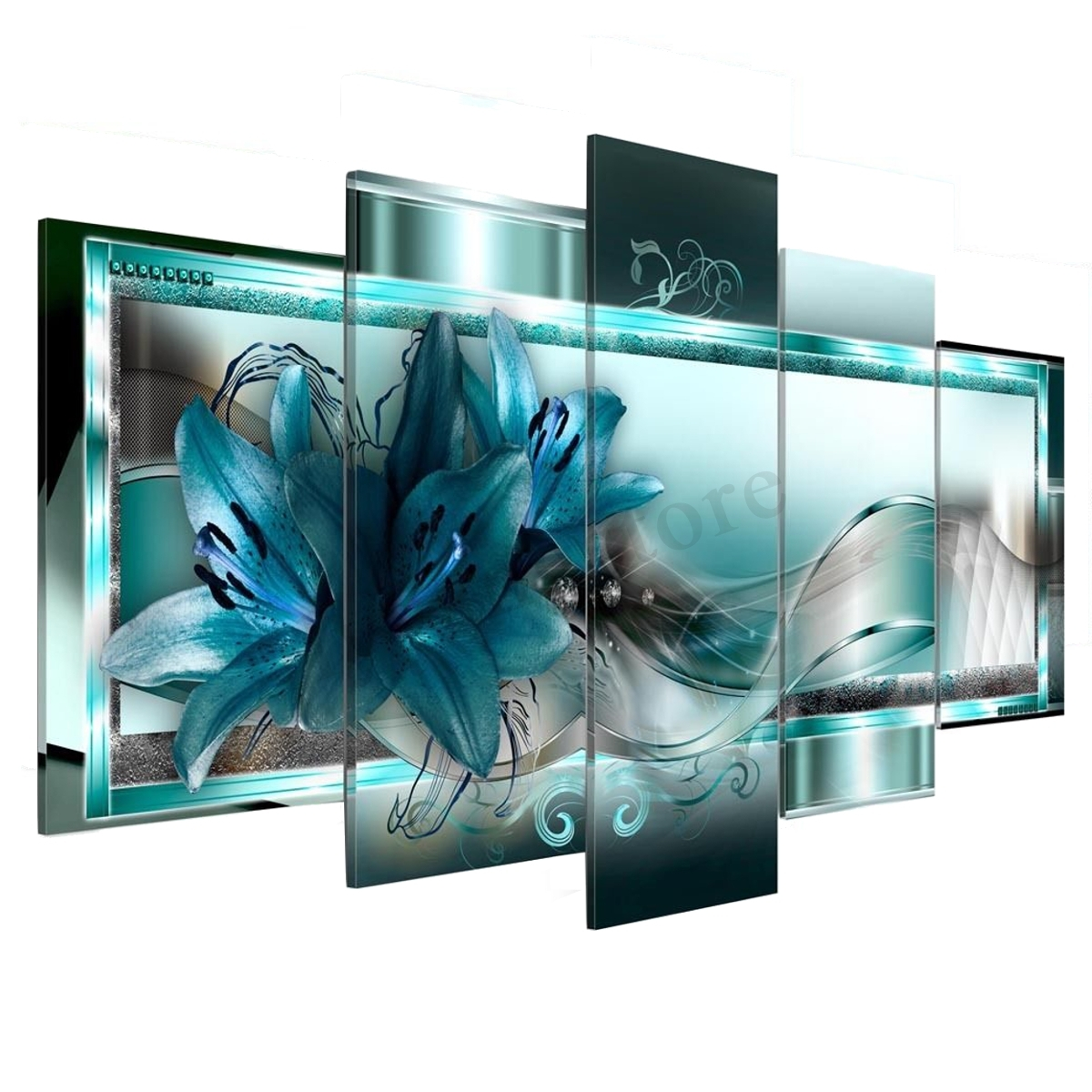 5 Panel Canvas Print Modern Abstract Flower Picture Giclee Wall Art With Recent 5 Panel Wall Art (View 4 of 20)