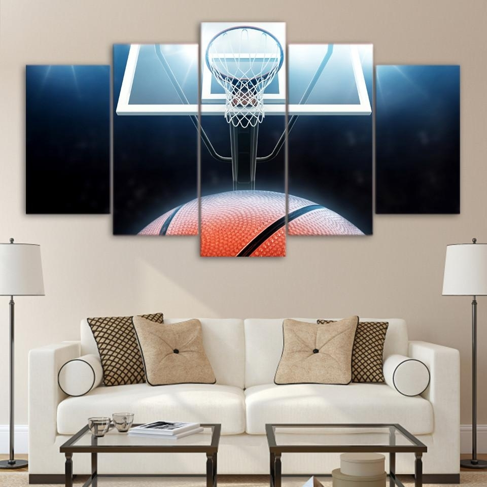 5 Panel Canvas Wall Art | Basketball Board | Panelwallart Within Recent Basketball Wall Art (View 5 of 15)