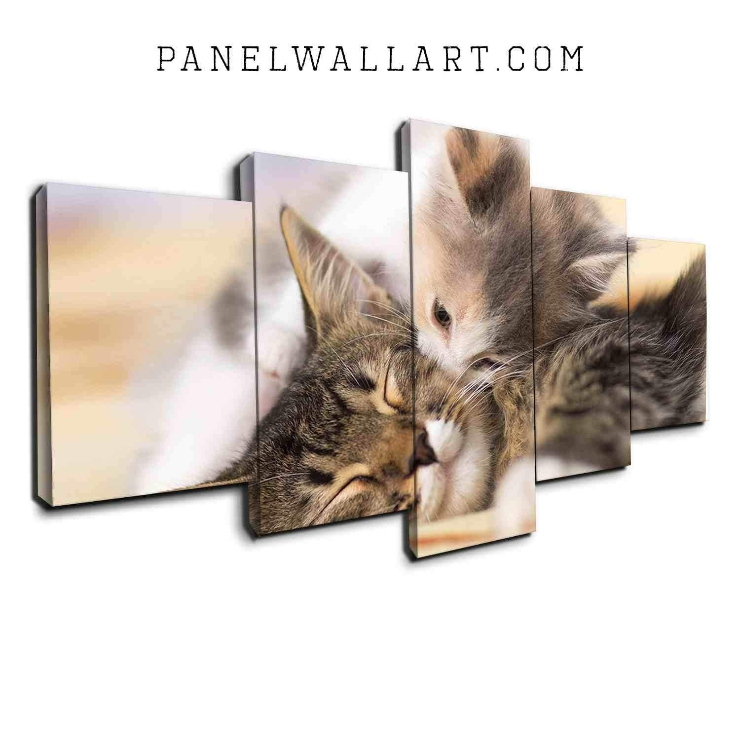 5 Panel Canvas Wall Art | Kissing Kitten On Bed | Panelwallart with Most Up-to-Date Cat Canvas Wall Art