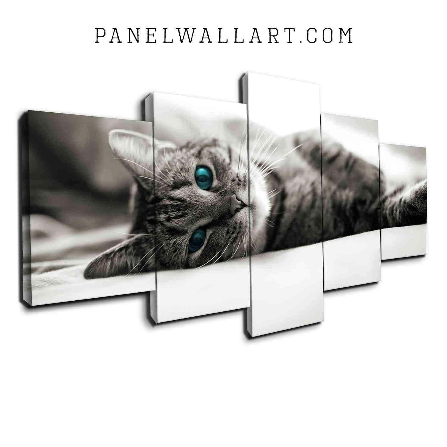 5 Panel Canvas Wall Art | Kitten On Bed | Panelwallart with Best and Newest Cat Canvas Wall Art