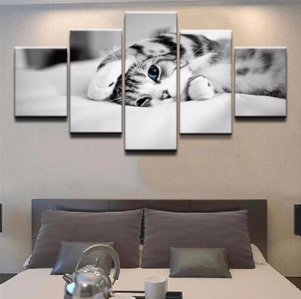 5 Panel Canvas Wall Art | Kitten On Bed | Panelwallart With Most Popular Five Piece Canvas Wall Art (View 3 of 20)