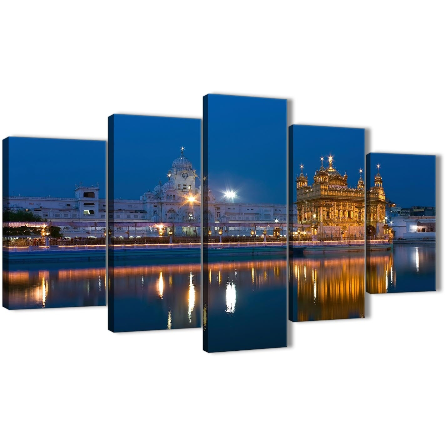 5 Panel Canvas Wall Art Pictures – Sikh Golden Temple Amritsar With Most Popular 5 Piece Canvas Wall Art (View 13 of 20)