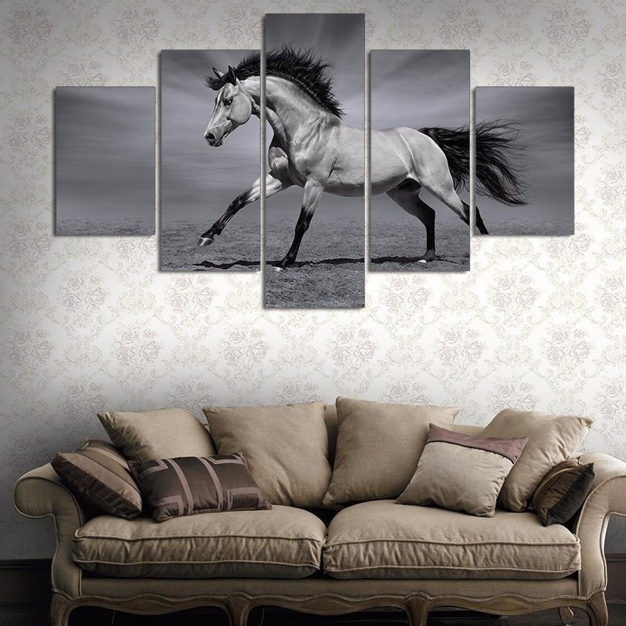 5 Panel Canvas Wall Art | Running Horses In Black And White for Most Popular Horses Wall Art