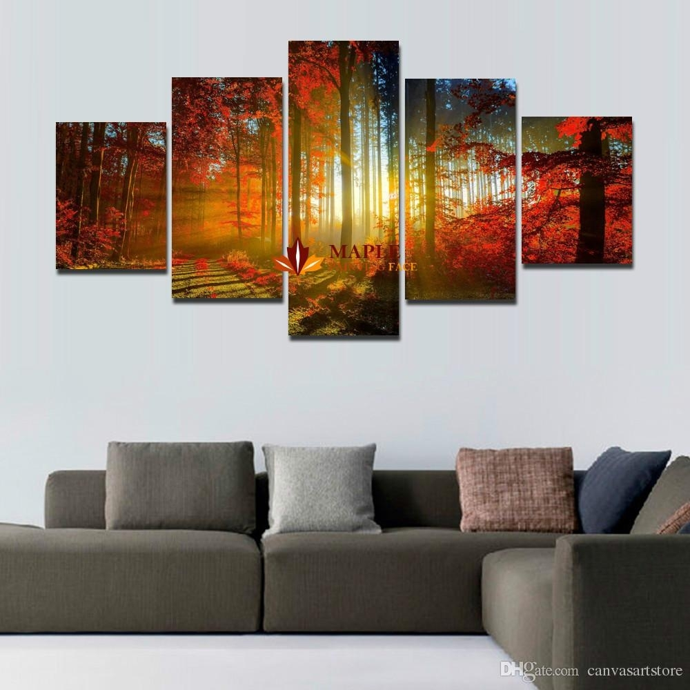 5 Panel Forest Painting Canvas Wall Art Picture Home Decoration For Throughout Newest Cheap Large Canvas Wall Art (View 1 of 20)