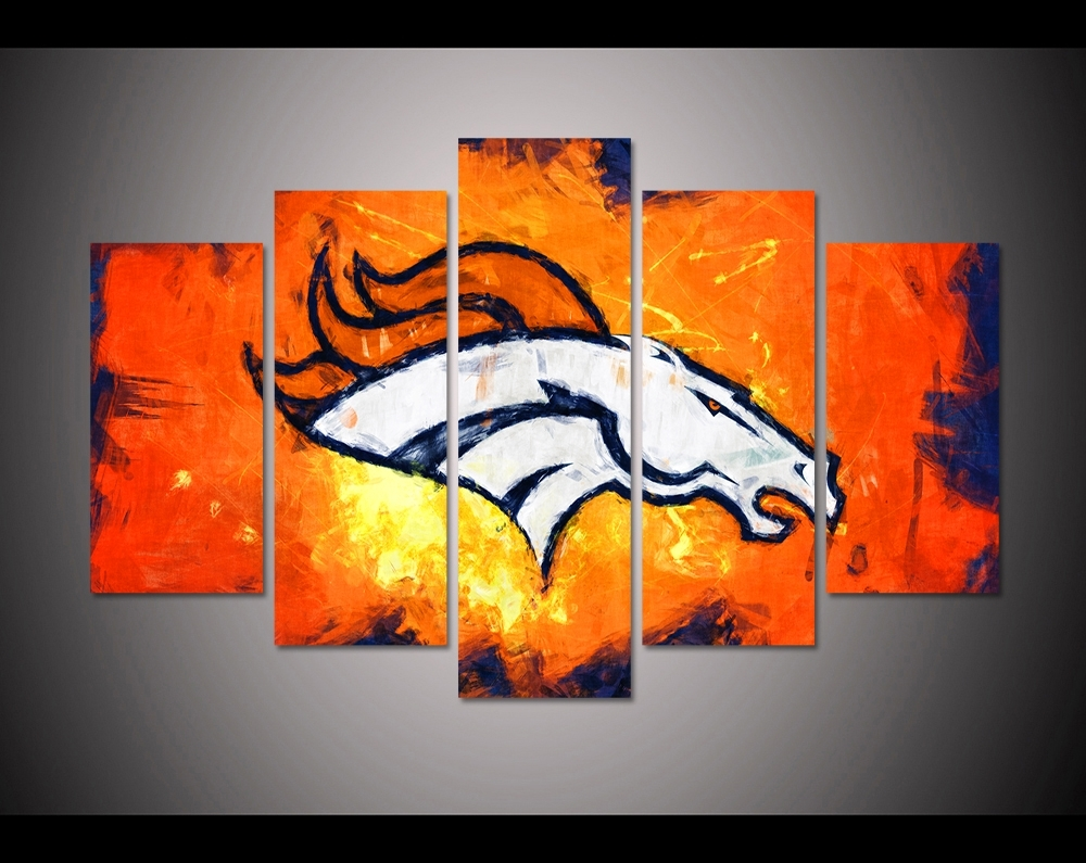 5 Panel Hd Printed Canvas Painting Sport Denver Broncos Canvas Print With Regard To Best And Newest Broncos Wall Art (View 3 of 20)