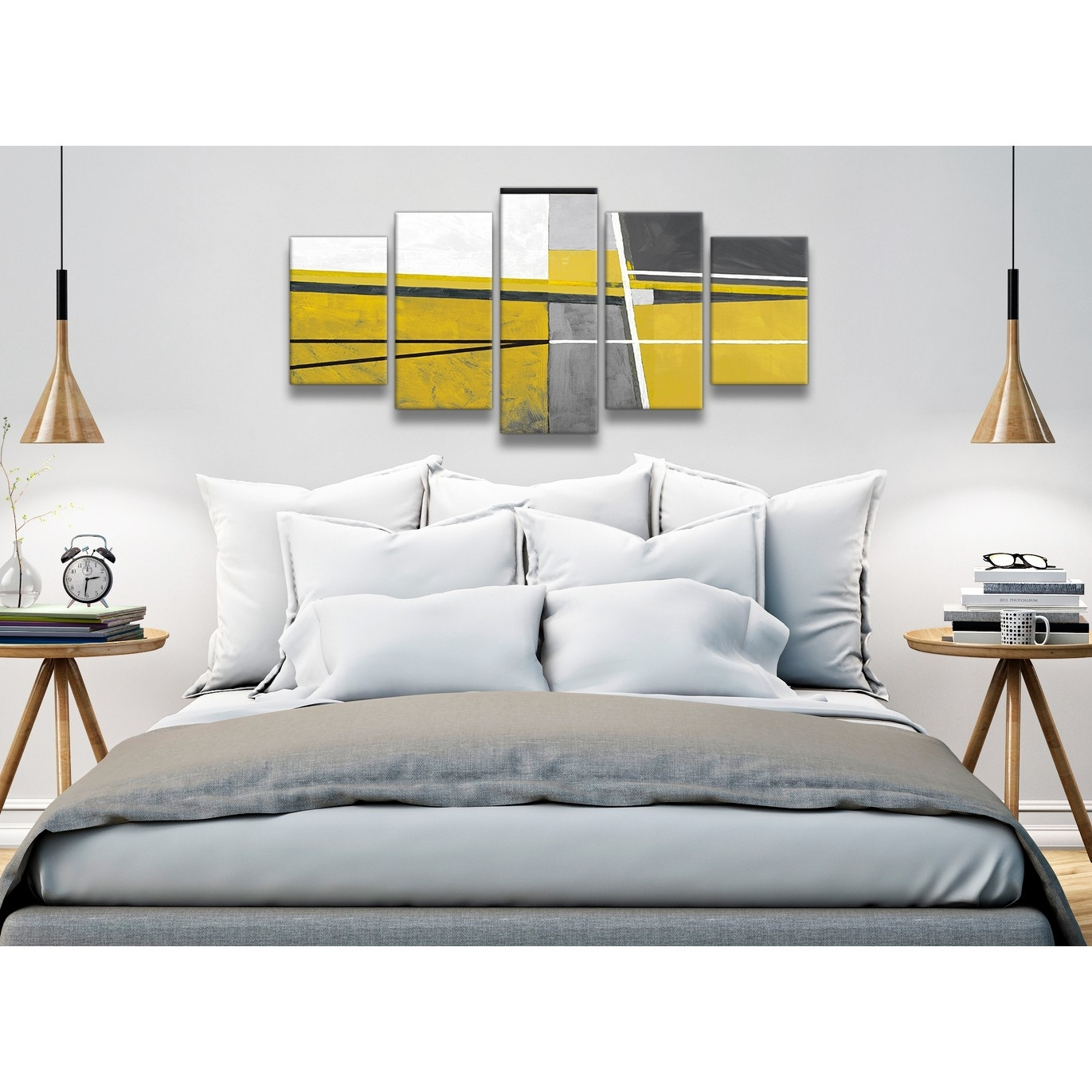 5 Panel Mustard Yellow Grey Painting Abstract Bedroom Canvas regarding Recent Wall Art For Bedroom