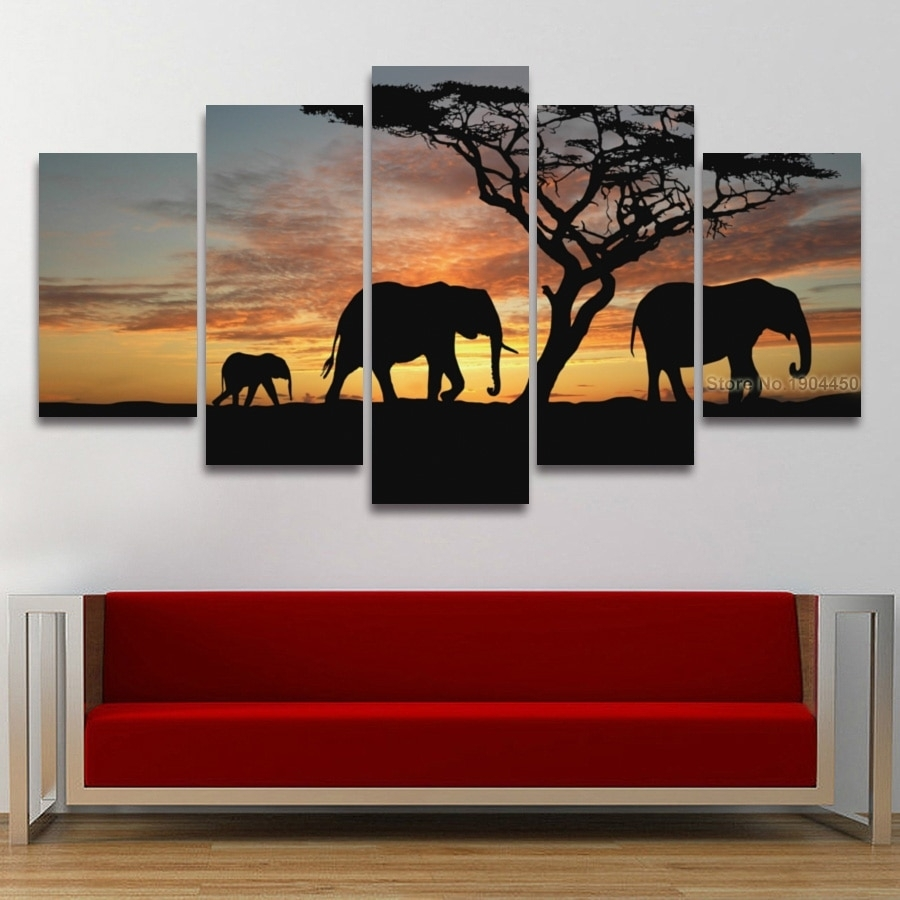 5 Panel Painting Canvas Wall Art African Elephant Scenery Landscape Pertaining To Best And Newest African Wall Art (View 2 of 15)