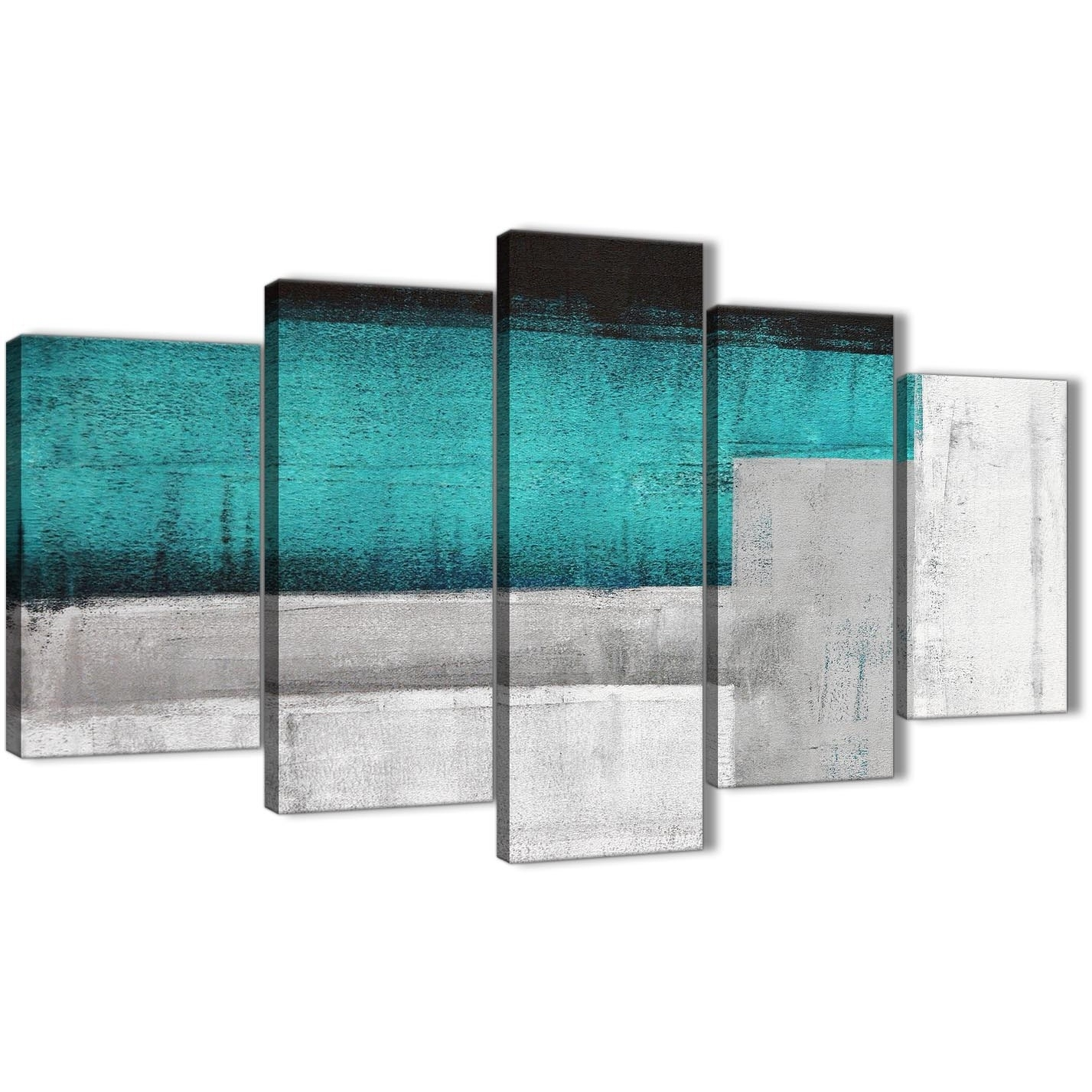 5 Panel Teal Turquoise Grey Painting Abstract Office Canvas Wall Art In Best And Newest Oversized Teal Canvas Wall Art (View 1 of 20)