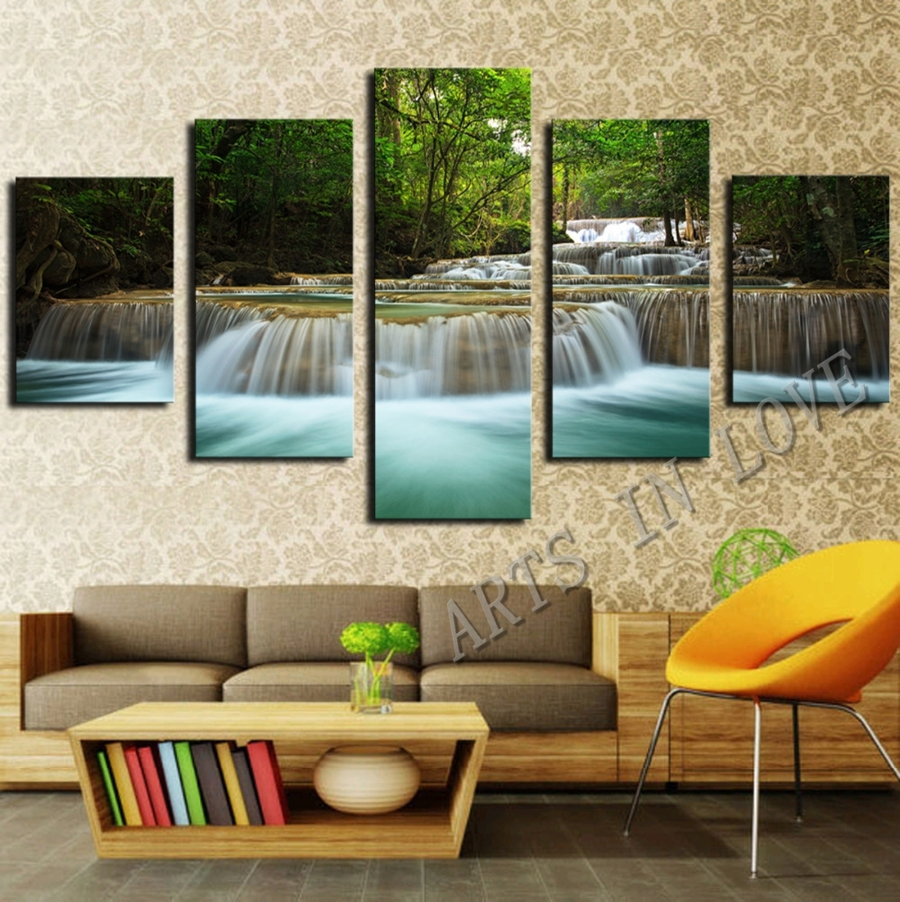 5 Panel Waterfall Painting Canvas Wall Art Picture Home Decoration with Best and Newest Large Framed Canvas Wall Art