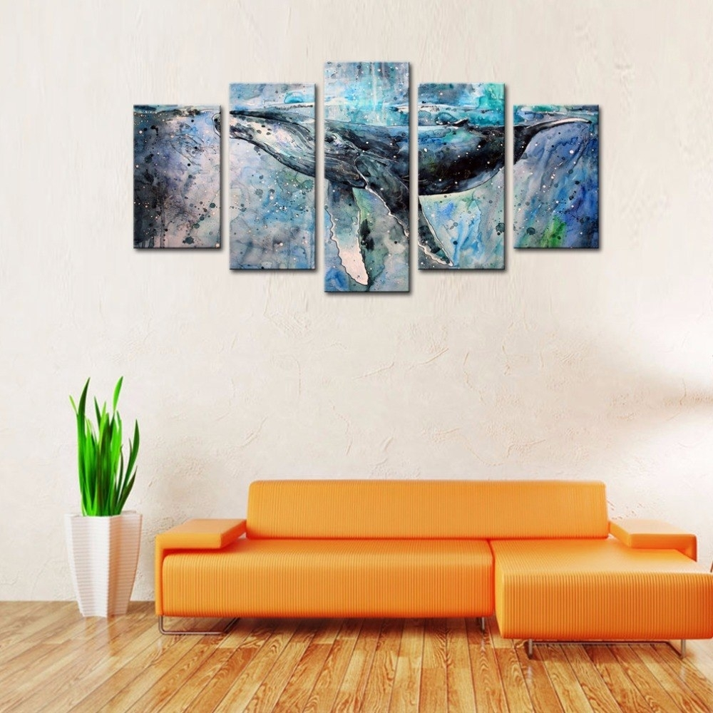 5 Panels Abstract Blue Whale Picture Canvas Prints Modern Wall Art For Best And Newest Whale Canvas Wall Art (View 4 of 20)