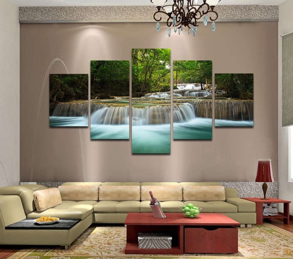 5 Panels Huge Hd Beautiful Green Waterfall Top Rated Canvas Print With Regard To Recent Framed Wall Art For Living Room (View 8 of 20)