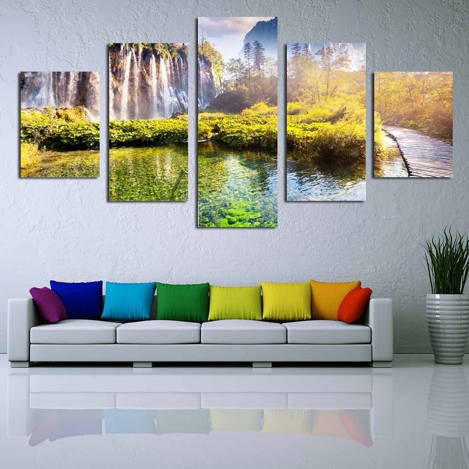 5 Panels Pictures Wall Decoration Printed Hd Images Unframed Canvas For Most Recent Nature Wall Art (View 6 of 20)