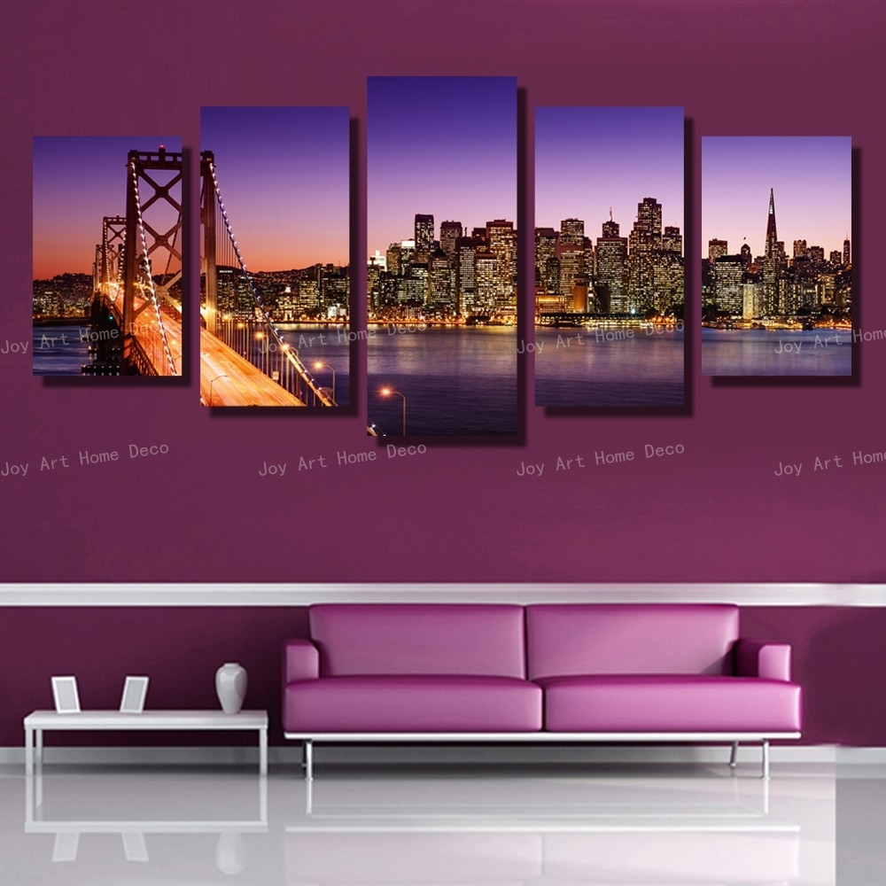 5 Panels San Francisco Bay Bridge Canvas Wall Art Print On Canvas With Regard To Best And Newest San Francisco Wall Art (Gallery 3 of 20)