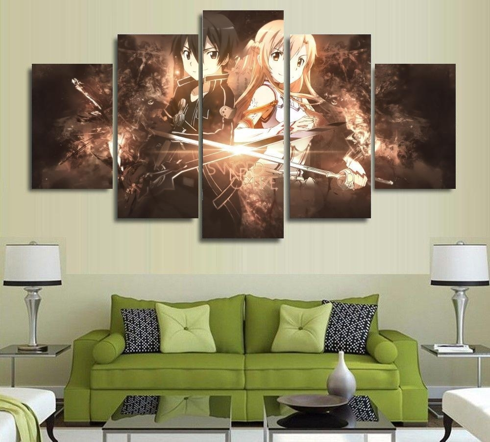 5 Panels Wall Art Anime Sword Art Online Kirito Sao 5 Pieces regarding Most Current 5 Piece Wall Art