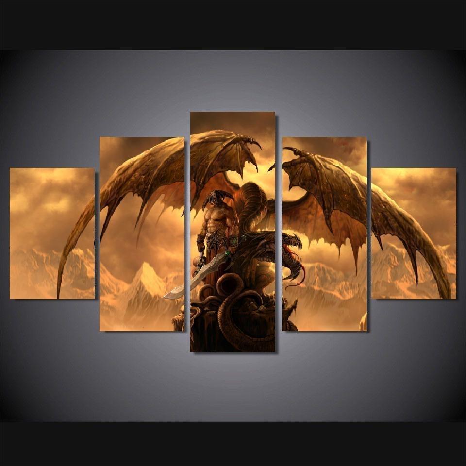 5 Panels Wall Art Dragon Fantasy Sword Warrior Art Wall Decor For Recent Dragon Wall Art (View 13 of 20)