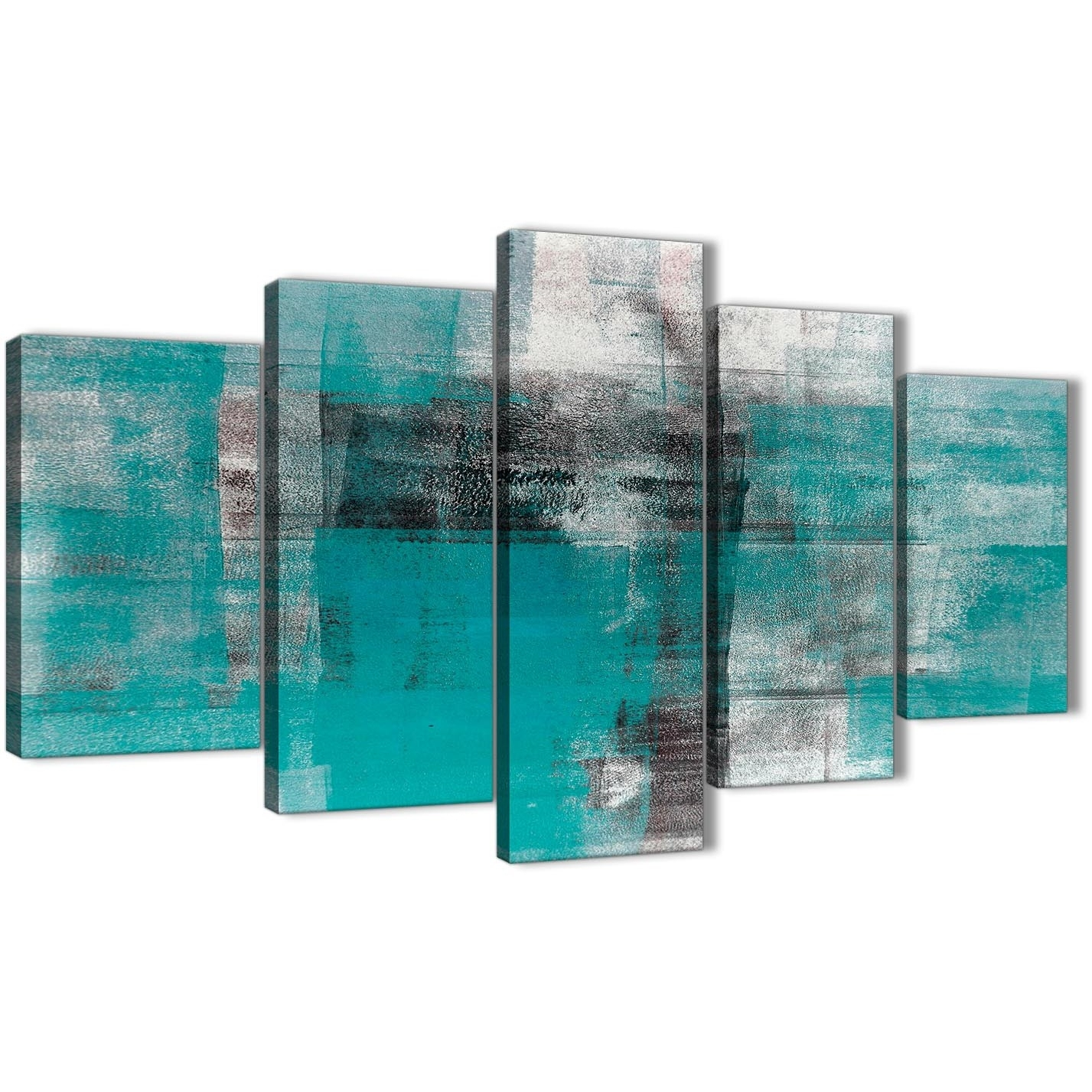 5 Part Teal Black White Painting Abstract Office Canvas Wall Art Throughout Newest Oversized Teal Canvas Wall Art (View 8 of 20)