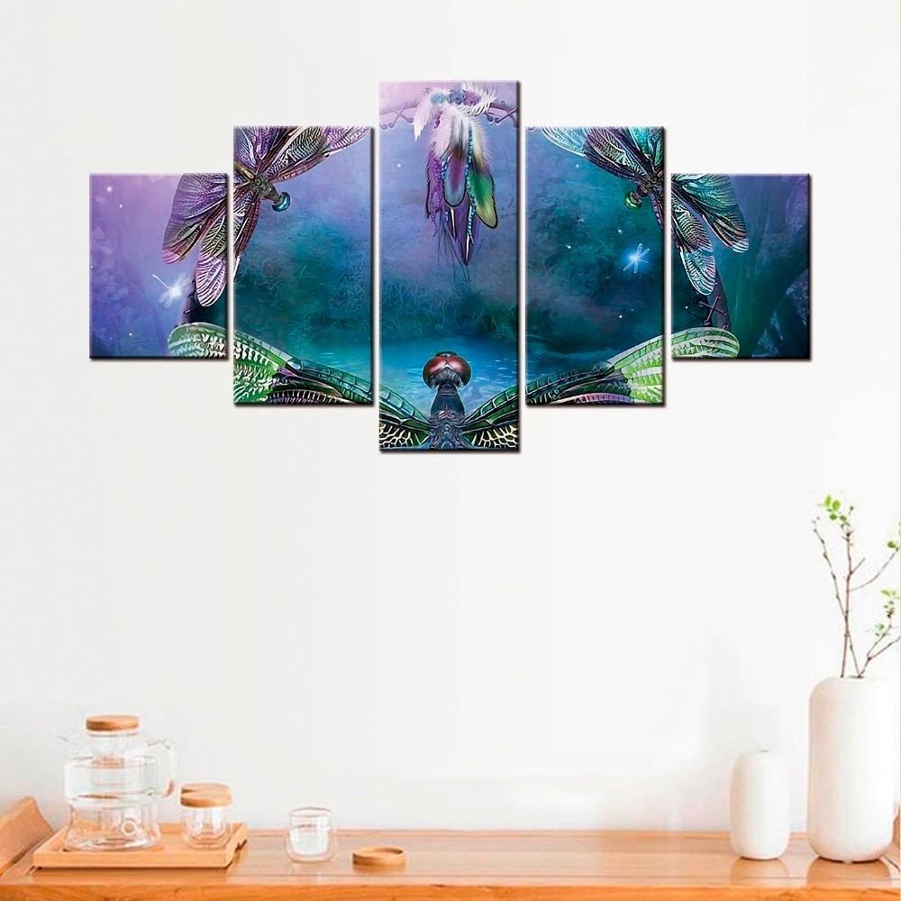 5 Pcs Dragonfly Canvas Poster Minimalist Art Canvas Painting Wall Throughout Most Recent Dragonfly Painting Wall Art (View 6 of 20)