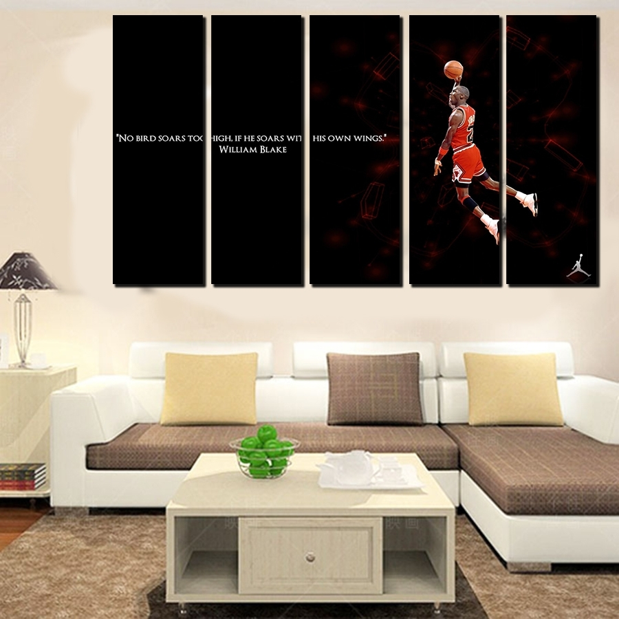 5 Pcs For Michael Jordan Large Seaview With Frame Canvas Print pertaining to Recent Large Framed Canvas Wall Art