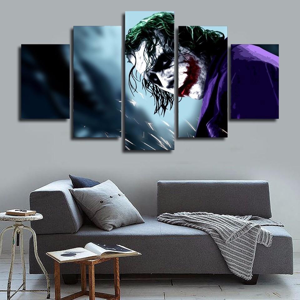 5 Pcs/set Framed Hd Printed Batman Joker Movie Picture Wall Art With Regard To Best And Newest Joker Wall Art (View 3 of 20)