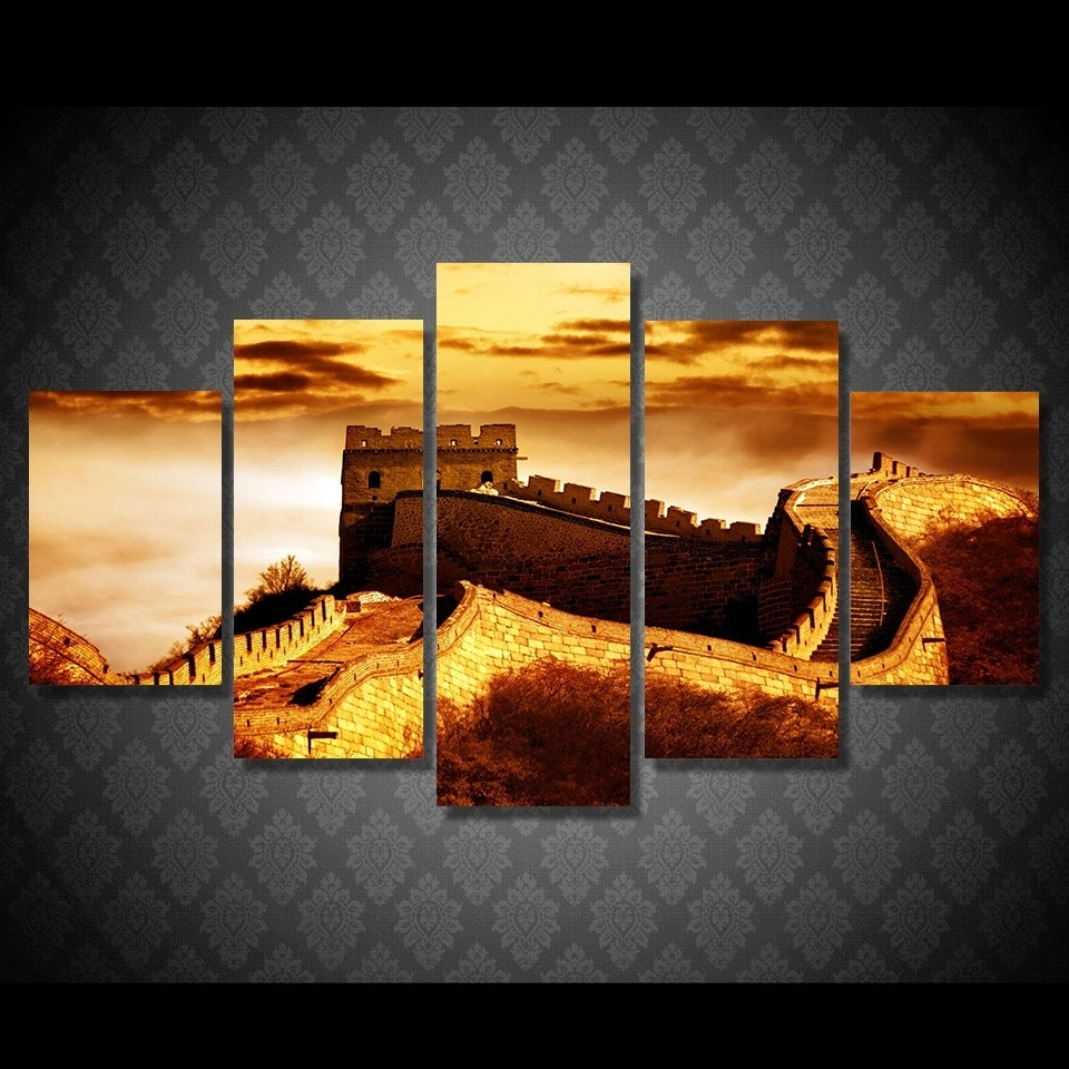 5 Pcs/set Framed Hd Printed Chinese Great Wall Sunset Picture Wall With Latest Chinese Wall Art (View 4 of 20)