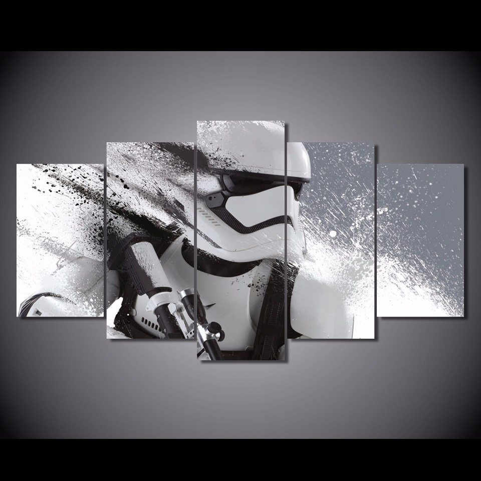 5 Pcs/set Framed Hd Printed Star Wars Stormtrooper Episode Picture Inside Most Popular Star Wars Wall Art (View 1 of 15)