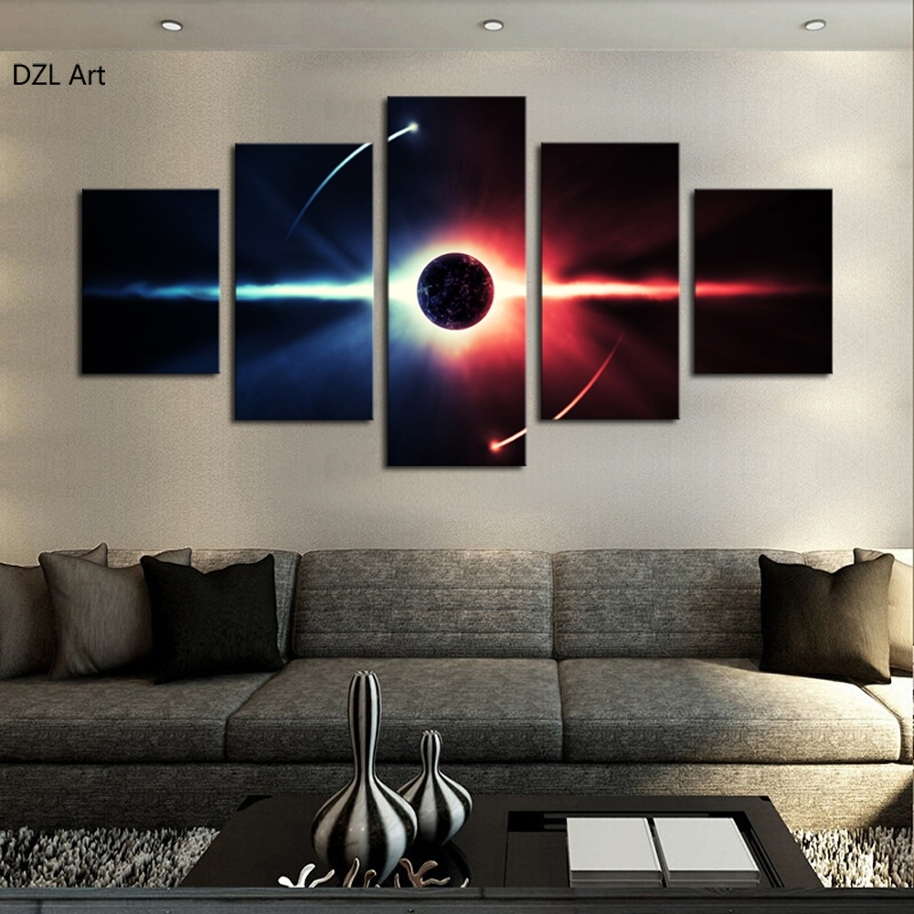 5 Pcs(no Frame) Large Hd Abstrac Planet Canvas Print Painting For In Current Large Framed Canvas Wall Art (View 4 of 20)