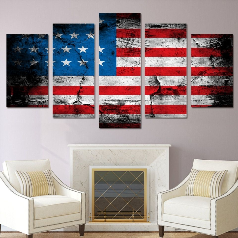 5 Piece Canvas Art American Flag Printed Wall Art Home Decor Canvas Within Most Popular American Flag Wall Art (View 1 of 15)