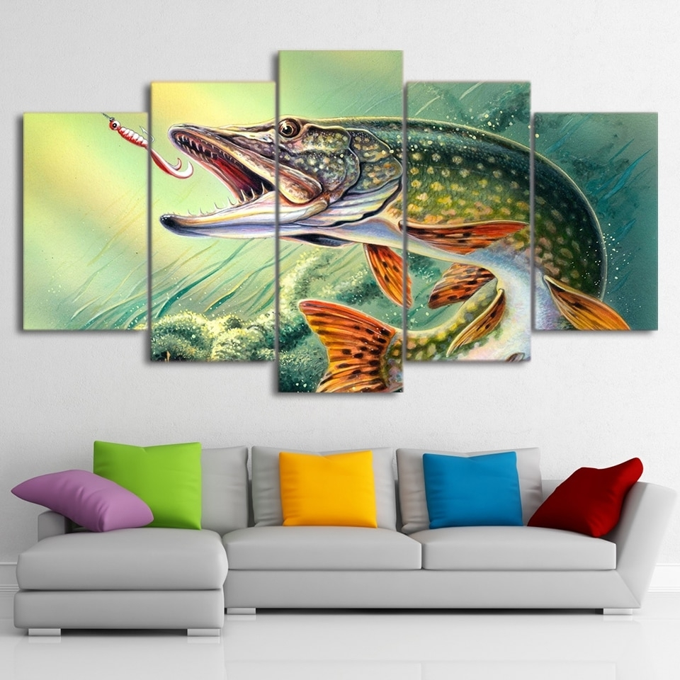5 Piece Canvas Art Fishing Hooked Pike Fish Canvas Painting Wall Inside Latest Fish Painting Wall Art (View 4 of 20)