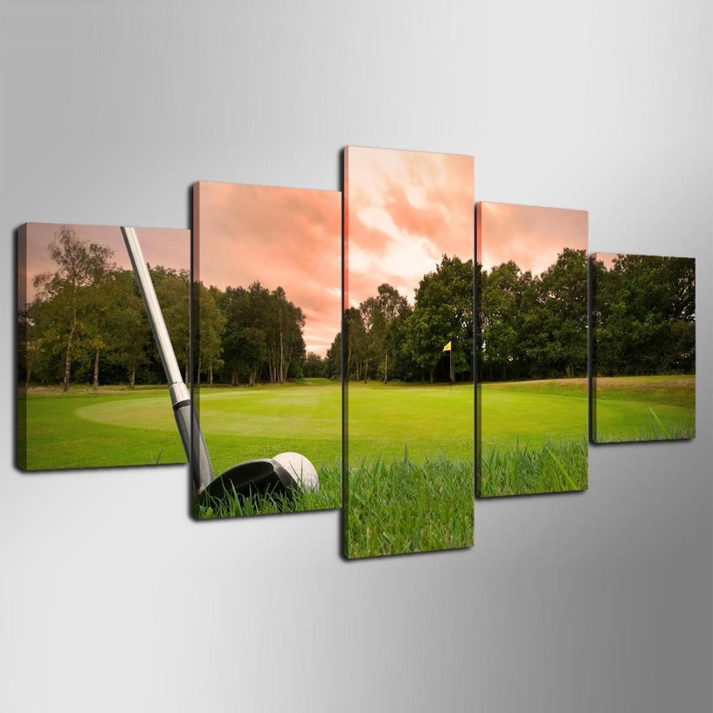 5 Piece Canvas Art Hd Print Canvas Room Home Decor Wall Art Hd Golf With Regard To Best And Newest Golf Canvas Wall Art (View 5 of 20)