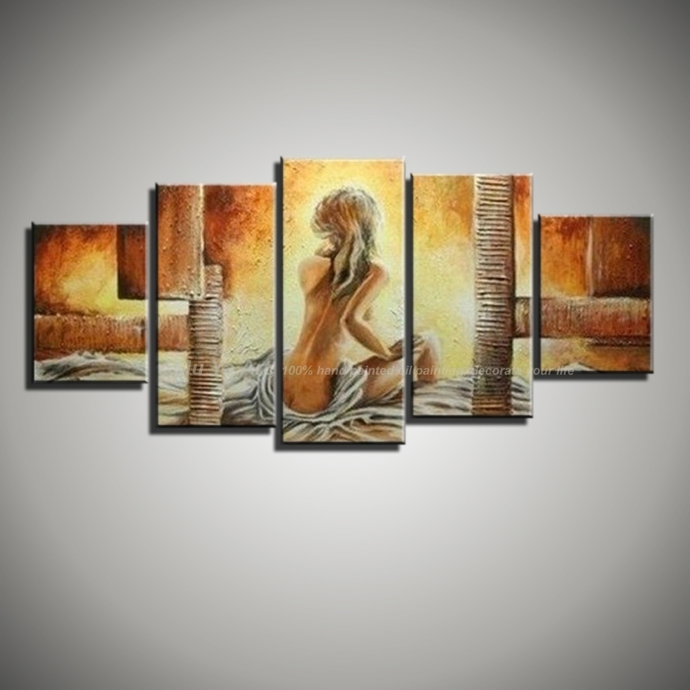 5 Piece Canvas Wall Art Modern Abstract Sexy Love Hand Painted Pertaining To Most Recent 5 Piece Wall Art (View 6 of 20)