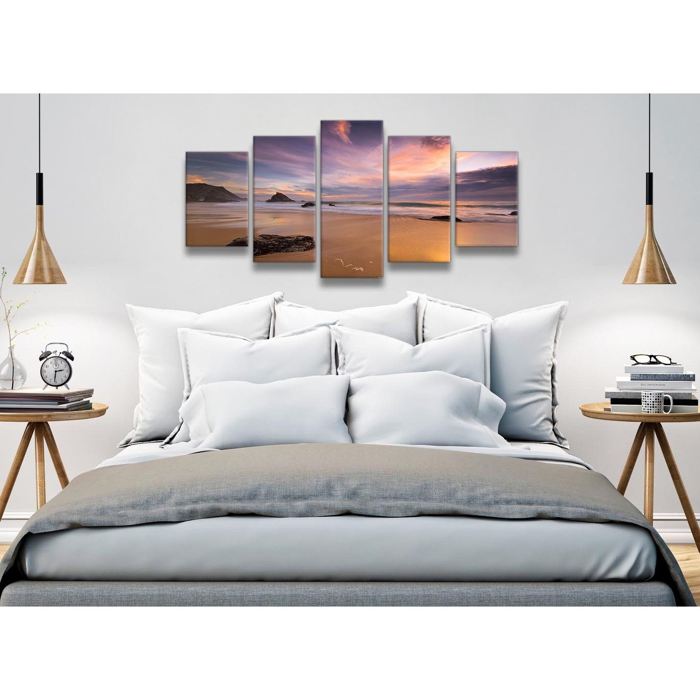 5 Piece Canvas Wall Art Prints - Panoramic Landscape Beach Sunset pertaining to Newest Panoramic Wall Art