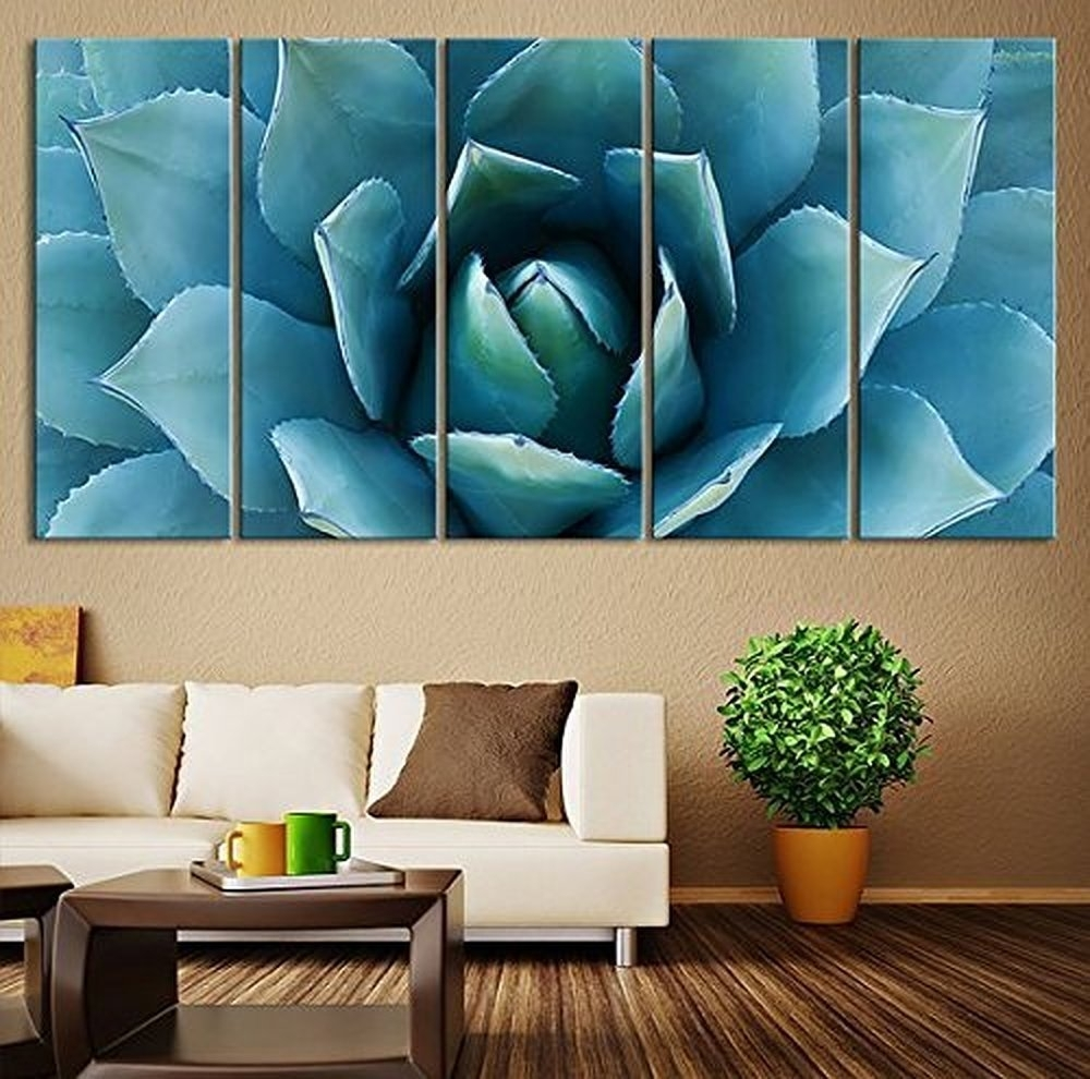 5 Piece Large Wall Art Blue Agave Canvas Prints Agave Flower Large With Regard To Recent Canvas Wall Art (View 3 of 15)