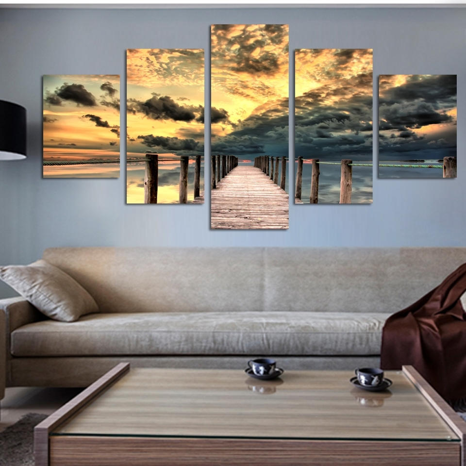 5 Piece Seascape Wall Art Unframed Painting On Canvas Sunset Ocean Regarding Current 5 Piece Wall Art Canvas (View 6 of 15)