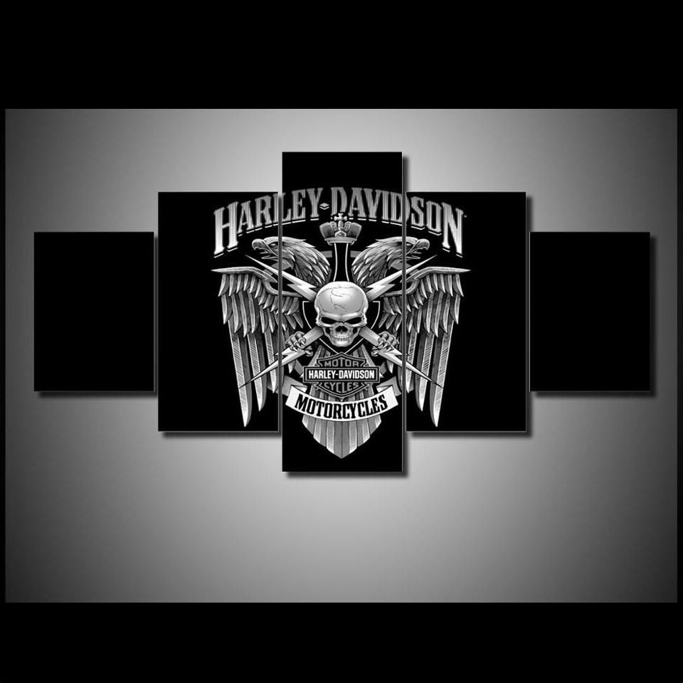 5 Piece Wall Art On Canvas Harley Davidson Wall Art Print Eagle Throughout 2017 Harley Davidson Wall Art (View 1 of 20)