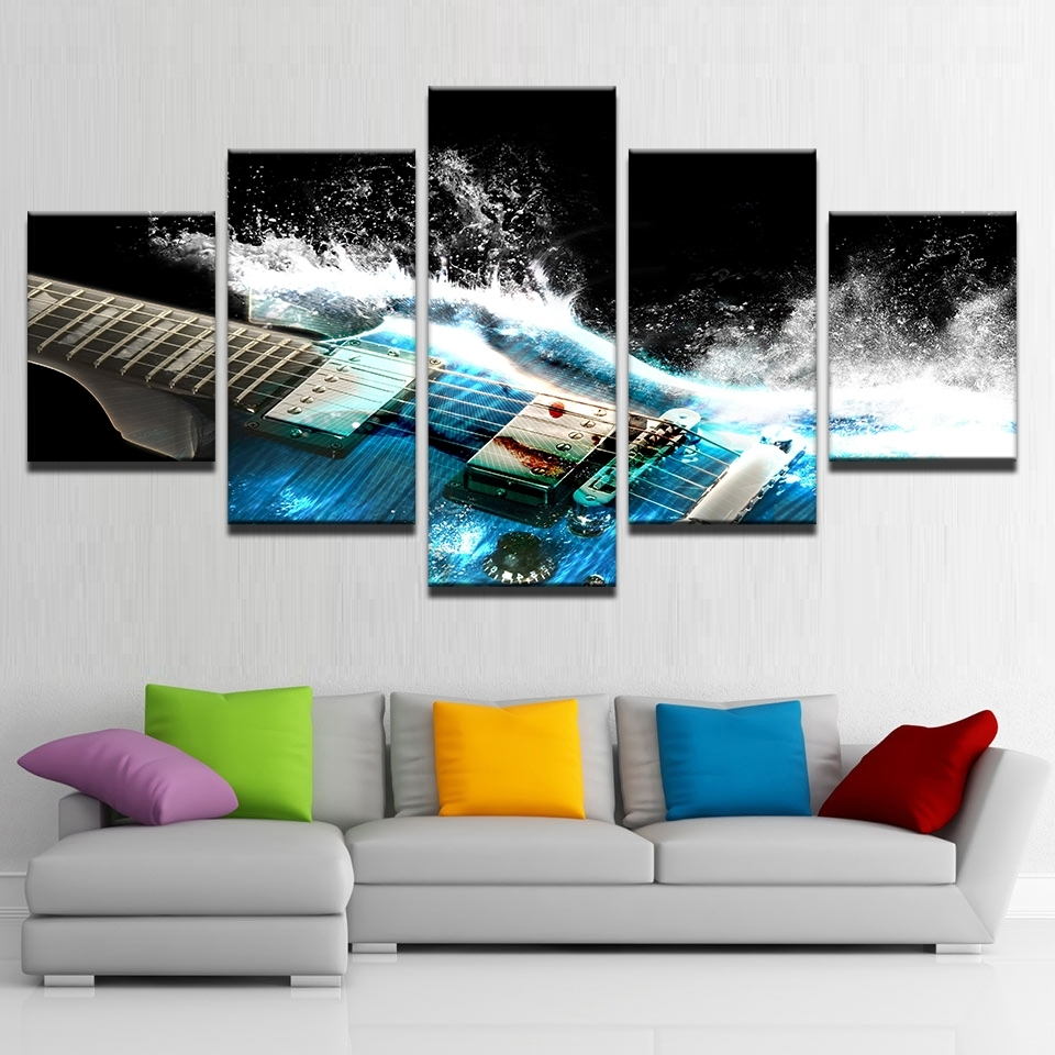 5 Pieces Abstract Blue Guitar Canvas Wall Art Pictures Home Decor inside Most Current 5 Piece Wall Art