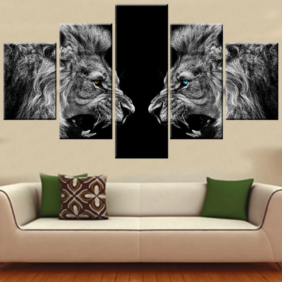 5 Pieces Canvas Prints 2 Lions Animal Blue Eyes Canvas Painting For Recent 5 Piece Canvas Wall Art (View 6 of 20)