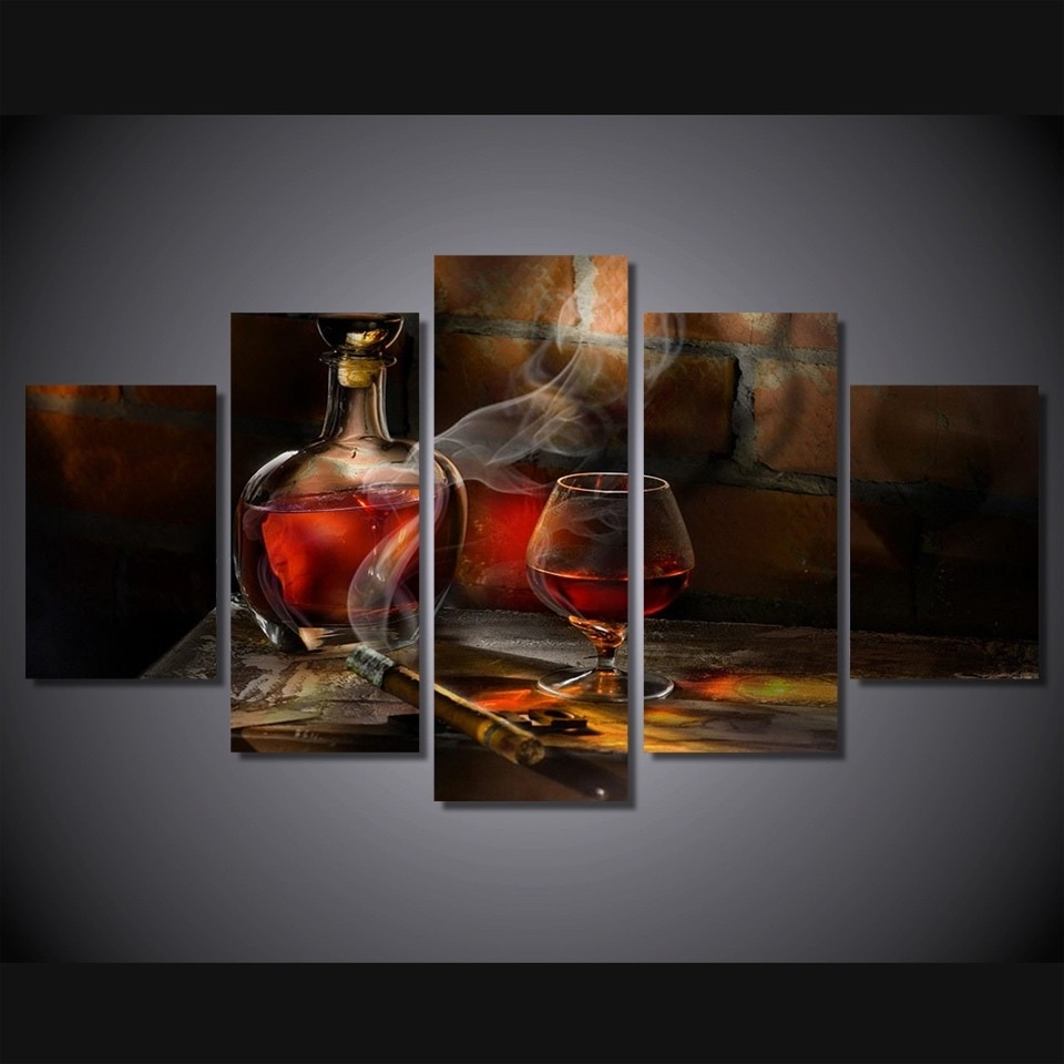 5 Pieces Canvas Prints Cigar Bottle Image Painting Wall Art Panels in Most Recent Wall Art Panels