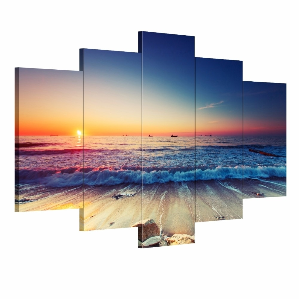 5 Pieces Modern Wall Art Canvas Unframed Modular Sunrise Panel Print in Most Up-to-Date 5 Piece Wall Art Canvas